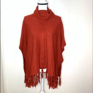 Allie & Rob Maroon Cowl Neck sweater Poncho